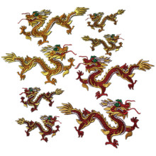 SASKIA 1Pair Chinese Embroidered Dragon Patches Embroidery Applique Iron On Stage Dance Clothes Accessories Red Gold DIY Patch