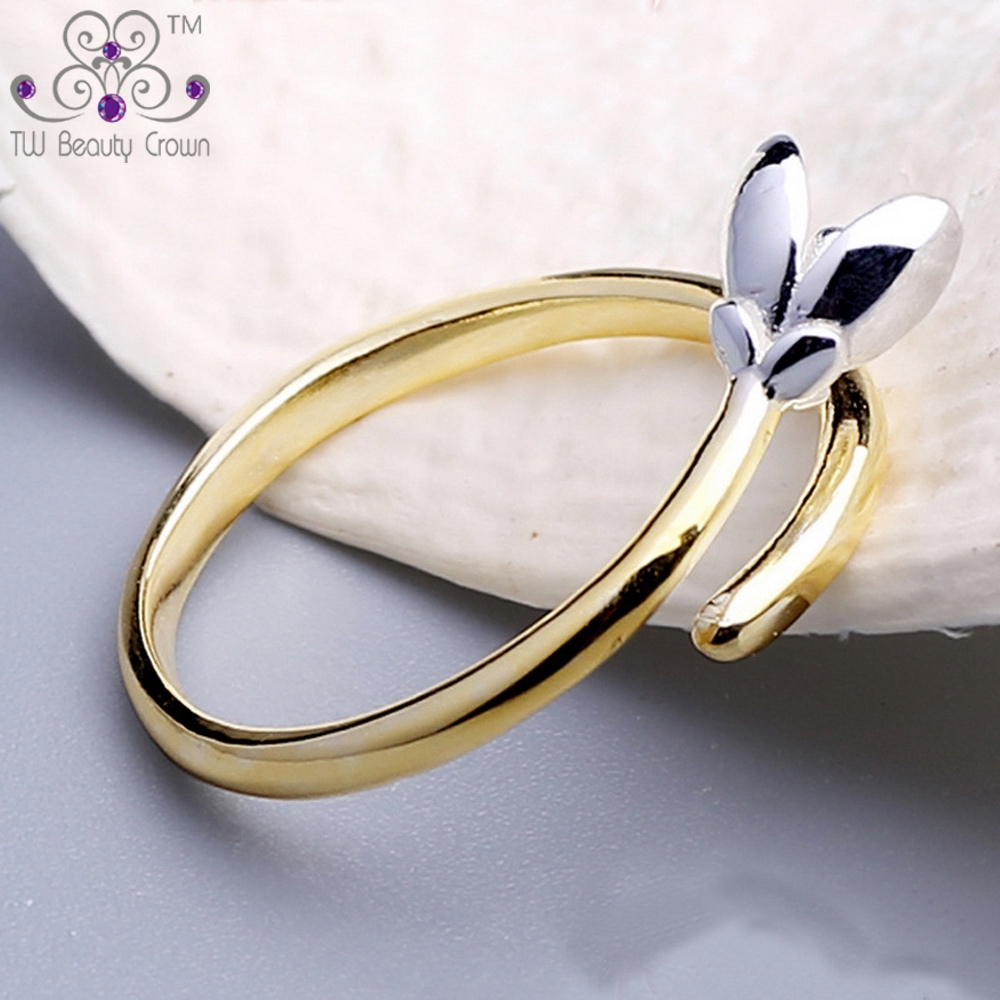Real 925 Sterling Silver With Yellow Gold Lated Female -6970