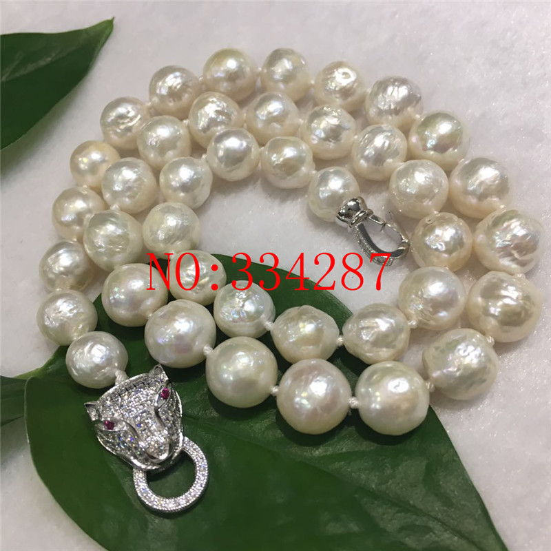 NEW HUGE NATURAL 10 11 MM australia seas of the south white pearl necklace 19 leopard