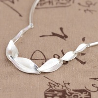 100 Real 925 Sterling Silver Bamboo Leaves Chain Necklace For Women Girls Fashion Jewelry Anniversary Engagement