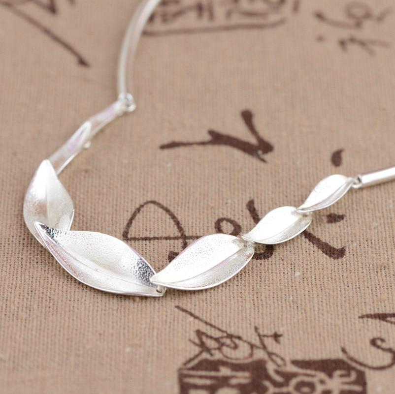 100% réel 925 en argent Sterling bambou feuilles chaîne collier pour femmes filles mode bijoux anniversaire fiançailles cadeau d'anniversaire