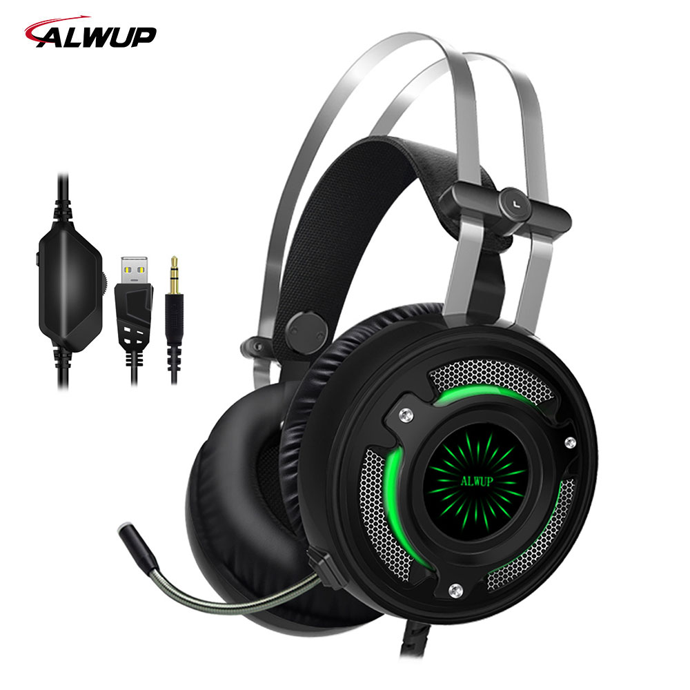 ALWUP UPA6 Gaming Headset PS4 7 colors LED Light USB Headphone for Computer PC Games with Splitter with Microphone somic g951pink headphone 7 1 virtual gaming headphone female players wired usb headphone with microphone headsets 3d surround