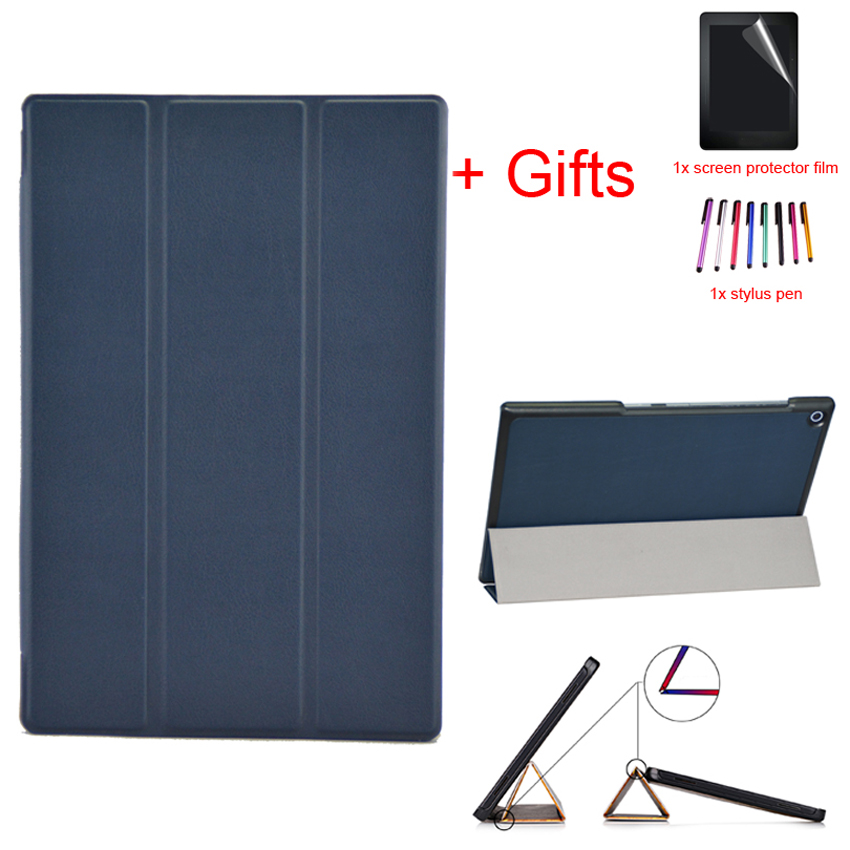 PU Leather <font><b>case</b></font> For <font><b>Sony</b></font> <font><b>Xperia</b></font> <font><b>Z2</b></font> 10.1 inch <font><b>Tablet</b></font> Stand Magnetic <font><b>Case</b></font> Cover For <font><b>Sony</b></font> <font><b>Z2</b></font> Slim Folding Cover shell+Film+Stylus image