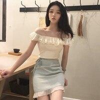New Korean version of wave lotus collar trim jacket + small Plaid lace tie A high waist half length skirt