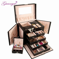 Guanya Large Jewelry Box Watch Case Beads Earring Ring Jewelry Armoire Storage Case Black White Roseo Leather Trinket Organizer