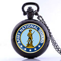 Army National Guard Soldier Vintage Quartz Pocket Watch Mens Casual Sport Watches Retro Jewelry Necklace Pendant With Chain Gift