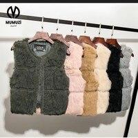 Factory Direct 5 Color NEW Autumn And Winter Warm Real Rabbit Fur Short Vest Women S