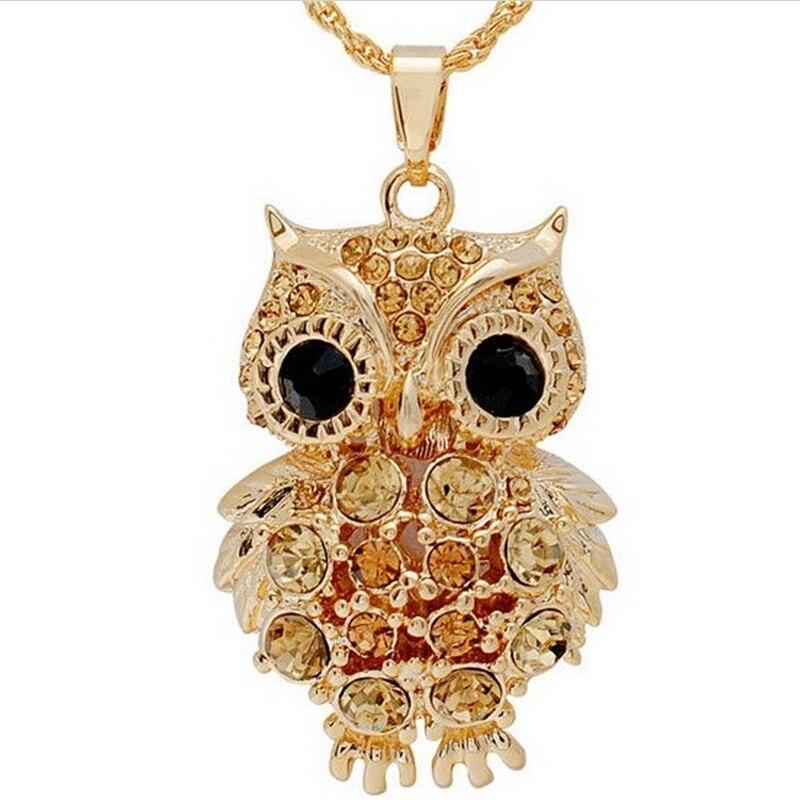 Nuevos encantos de marca Búho Collares y colgantes Vintage Crystal Gem Cubic Zircon Diamantes Oro Collar de cadena larga Mujer Joyería