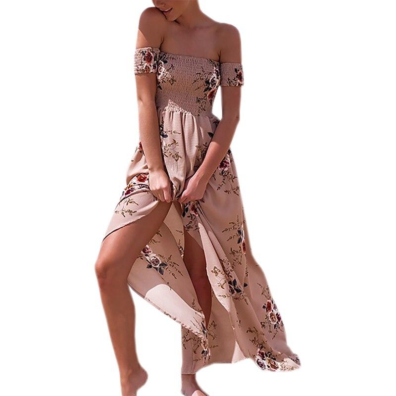 Été femmes plage robes Sexy Slash cou longue Boho robe Vintage en mousseline de soie Maxi robe 2019 Floral imprimer Vestidos Mujer