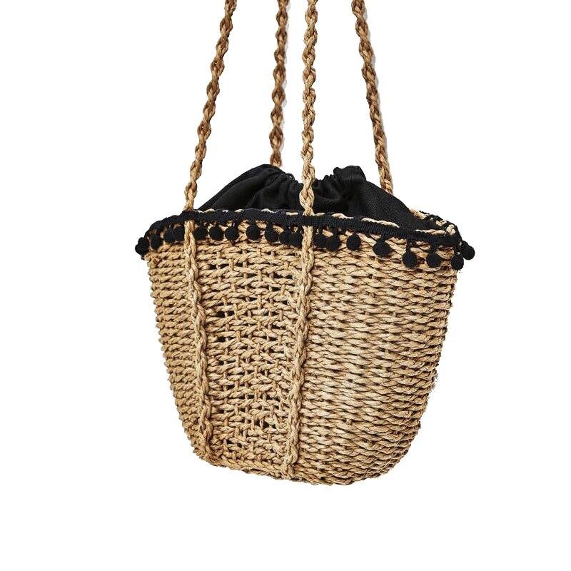 Yesello Woven Beach Bag for Summer Big Straw Handmade Tote Women Travel Handbags Shopping Hand Bags