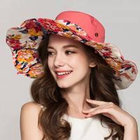 2017 mode-Design Blume Faltbare Krempe Sonnenhut Sommer Hüte für Frauen Uv-schutz M-16YF173