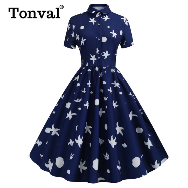 bcb327aca37e Tonval Blue Print Turn-down Collar Button Up Midi Dress Women Casual Short  Sleeve Pleated Pinup Vintage Summer Swing Dresses