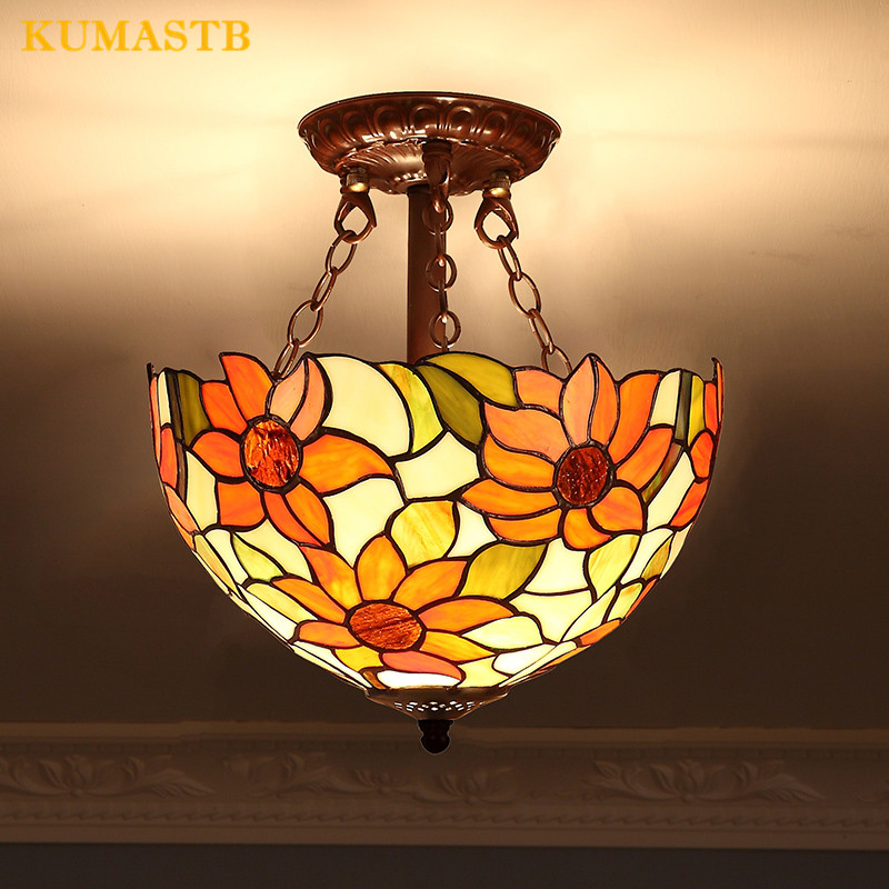 Stained Glass Sunflowers Pendant Lights European Balcony Iron LED Pendant Lamp For Living Room Classic Tiffany Art Light Fixture|Pendant Lights|Lights & Lighting - title=