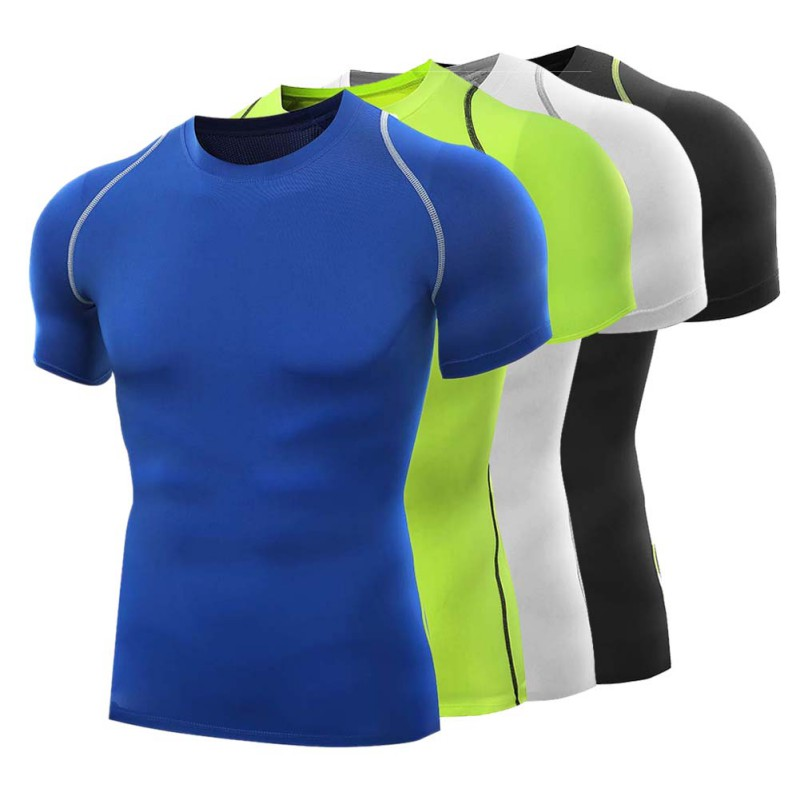 Mode Hommes Solid T-Shirts Sports Slim Fit Round-Neck Short Sleeve Running T-Shirts Tops Clothes