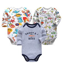 Baby Bodysuits Long Sleeve Babies 3 Piece/lot Newborn Toddler Infant Boys Girls 3-24 Months All Cotton Knit Print Clothes