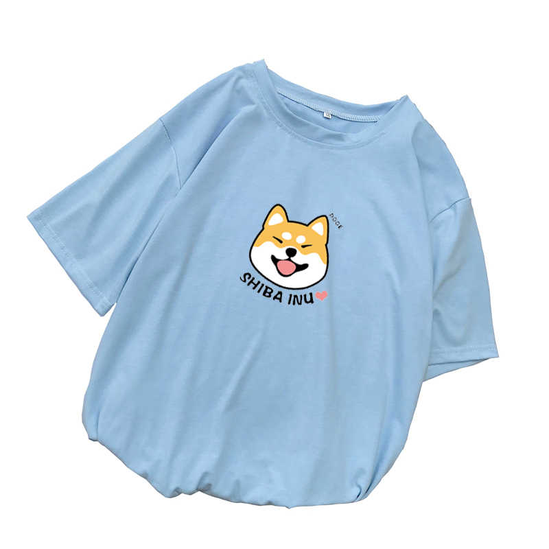 Shiba T Shirt Women Summer Kawaii Funny Cartoon Tee Shirt Femme Korean Fashion Clothes Casual Streetwear Harajuku Camiseta Mujer