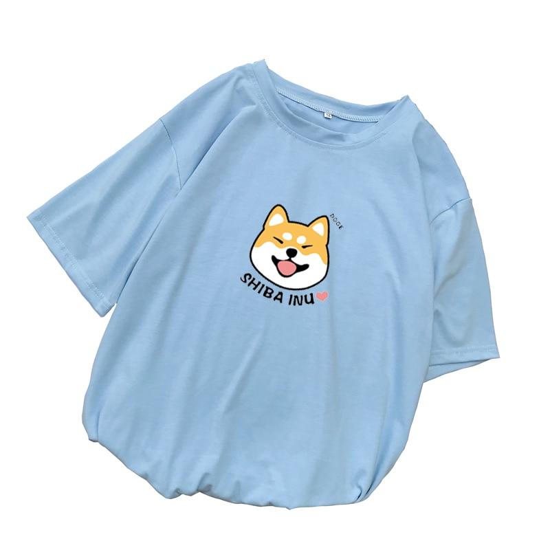 Shiba T Shirt Women Summer Kawaii Funny Cartoon Tee Shirt Femme Korean Fashion Clothes Casual Streetwear Harajuku Camiseta Mujer