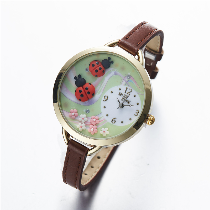 2019 MISS KEKE Geneva Clay Ceramic 3D Beatles Handmade Ladybug Watches Children Kids Girl Pink Leather Quartz Wristwatches 817