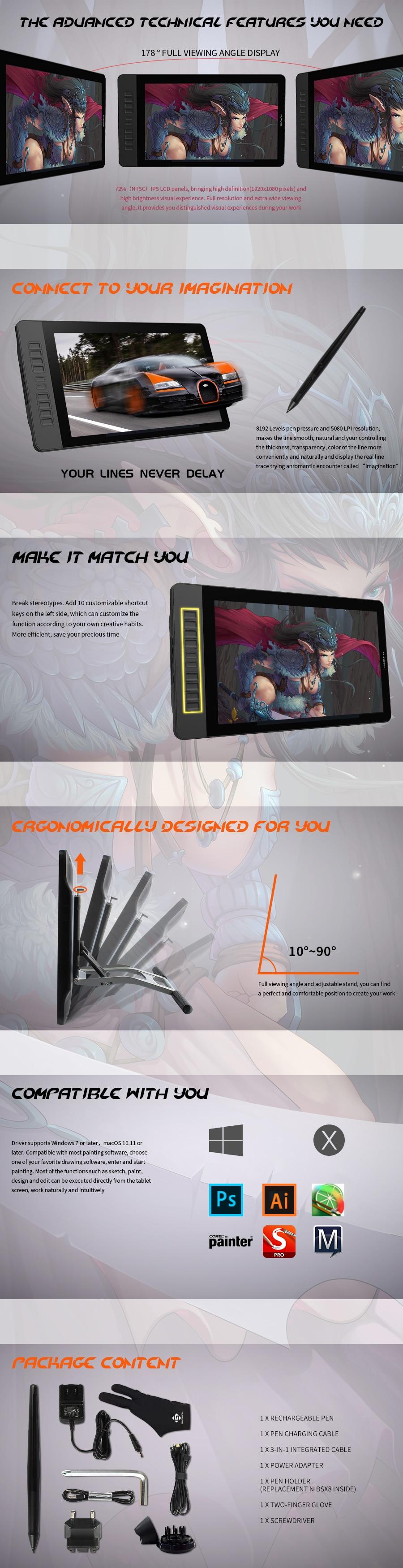 Moniteur De Tablette Graphique 156 Pouces Ips Hd Art Pd1560 8192 Pouces Avec écran De Sensibilité à La Pression Et Gant De Tablette De Dessin