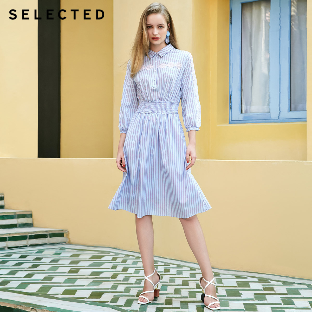SELECTED Summer Slight Stretch Striped Cut out Dress S 41922J533