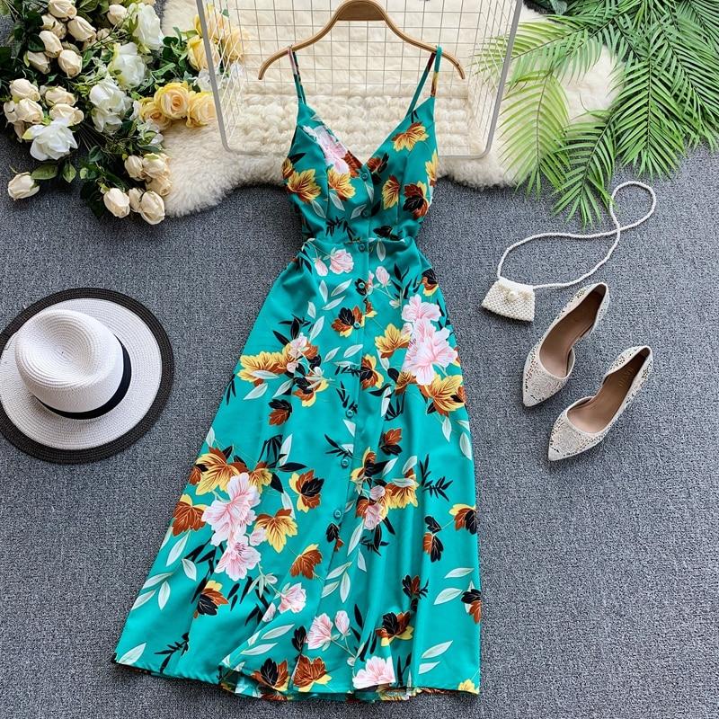 2019 new fashion women's dresses Seaside resort beach V neck open back cross strap Chiffon print dress summer