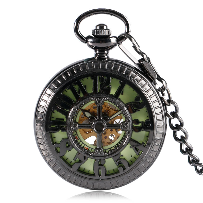 Bronze Noctilucent Dial Black Steampunk Cartoon Mouse Hand Winding Mechanical Pocket Watches Skeleton Pendant With Chain Men