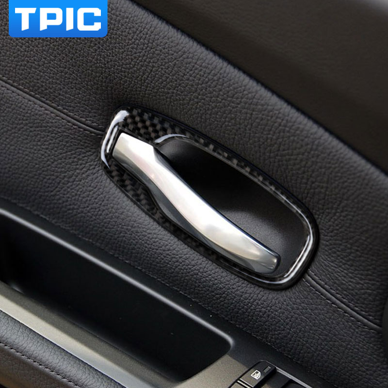 carbon fiber car interior door handle cover trim door bowl stickers decoration for bmw e60 5. Black Bedroom Furniture Sets. Home Design Ideas