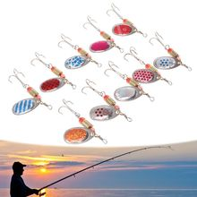 OOTDTY 10 Pcs/set Fishing Sequins Set Rotate Sequin Hook Type With Box Bait Freshwater Fish Hooking Temptation Tool