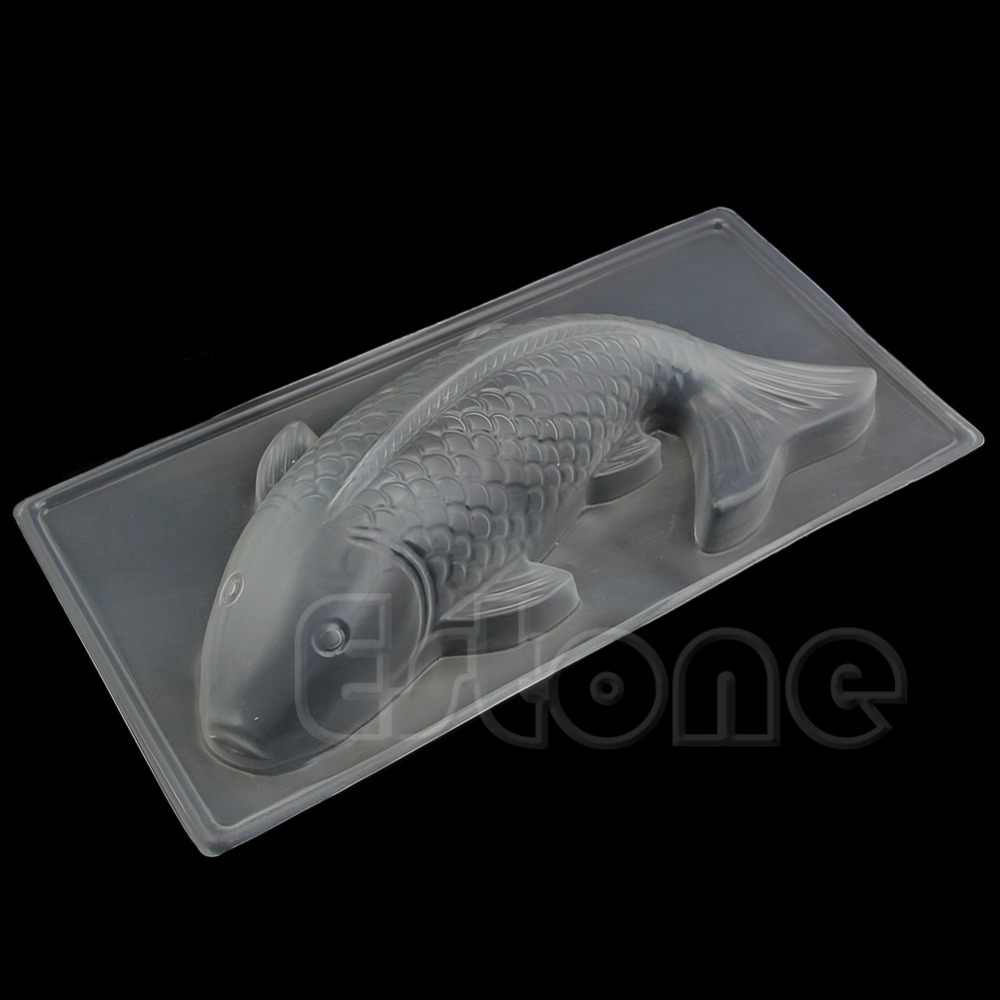 Gran oferta 1pc DIY 3D medio peces Koi de plástico de molde de pastel, de Chocolate gelatina hecho a mano molde para figuras de azúcar 28cm x 17,5 cm