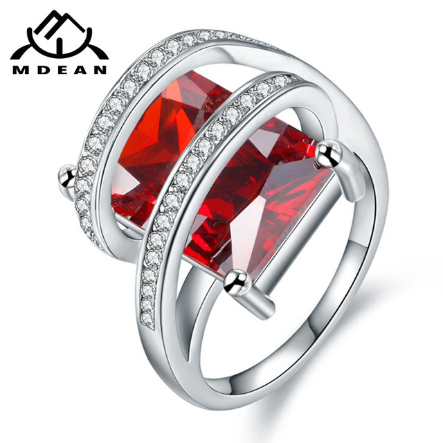 MDEAN White Gold Color Wedding Engagement Rings for Women AAA Zircon Fashion Jew