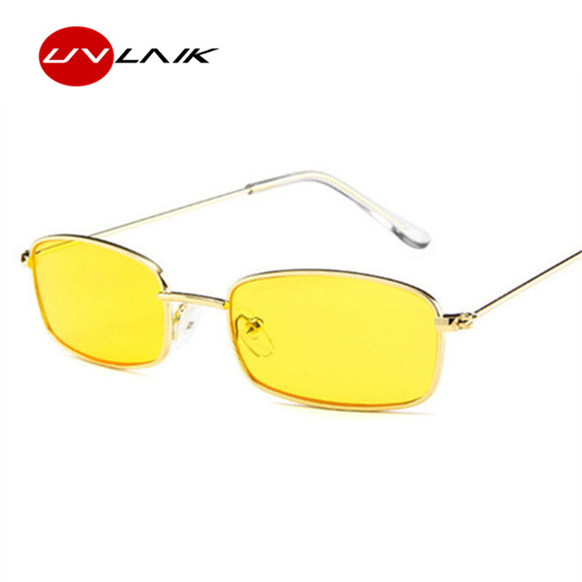 75a0abcac7c UVLAIK Metal Frame Sunglasses Men Retro Small Square Sun Glasses Women  Yellow Lens Small Cat Eye Sunglass Female Shades Eyeglass