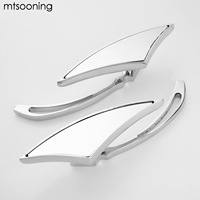 Mtsooning Motorcycle Adjustable Handlebar Rearview Side Mirror Triangle Aluminum Universal Motorbike Mirror For Harley Honda