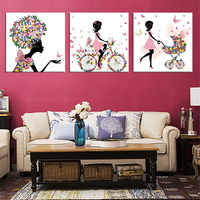 Frameless Dancing Girl Painting Butterfly Wall Poster Canvas Art HD Modular Picture Home Decor 3 Pieces