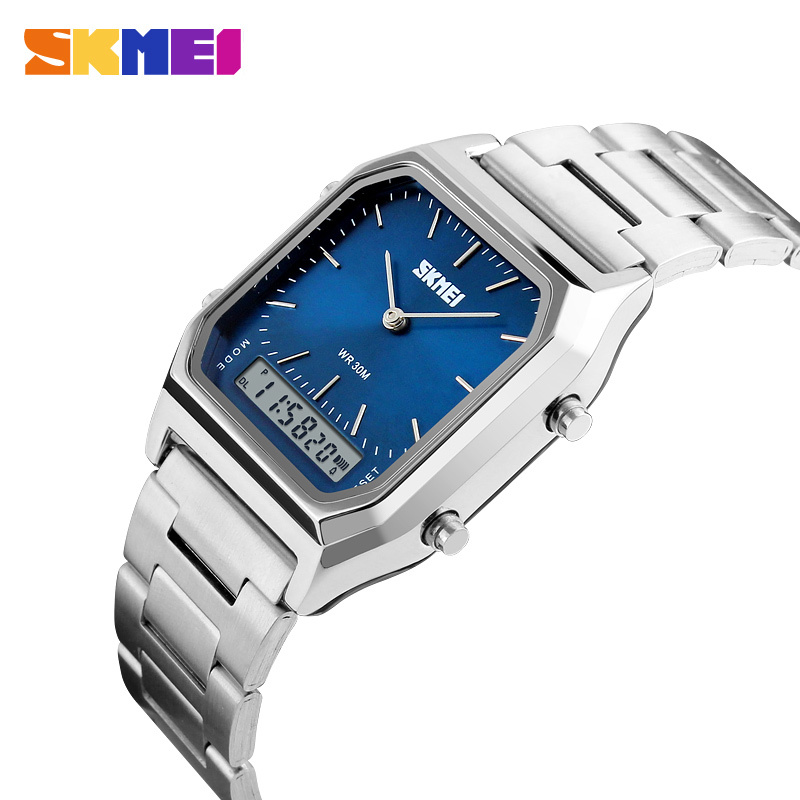 New SKMEI Dual Time Display Wristwatch Men Fashion Rectangle Sport Watches Male Square Clock Digital Watch Watch Electronic Male bewell multifunctional wooden watches men dual time zone digital wristwatch led rectangle dial alarm clock with watch box 021a