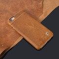 Elegante marrom genuíno couro hard case para iphone 6/6 s 6/6 s plus moda ultra slim tampa traseira frete grátis