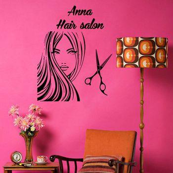 Etiqueta engomada del salón de belleza tijeras calcomanía del corte de pelo nombre Posters vinilo pared arte calcomanías decoración Mural salón pegatina Q0038