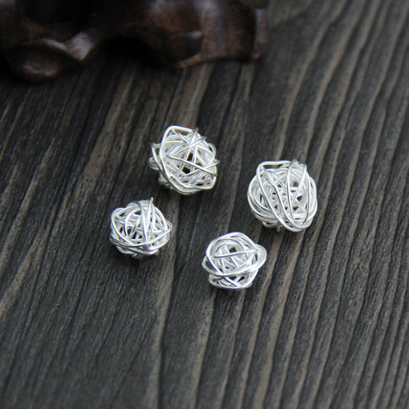 925 Sterling Thai silver Yarn ball wrapped Beads round silver wire ...