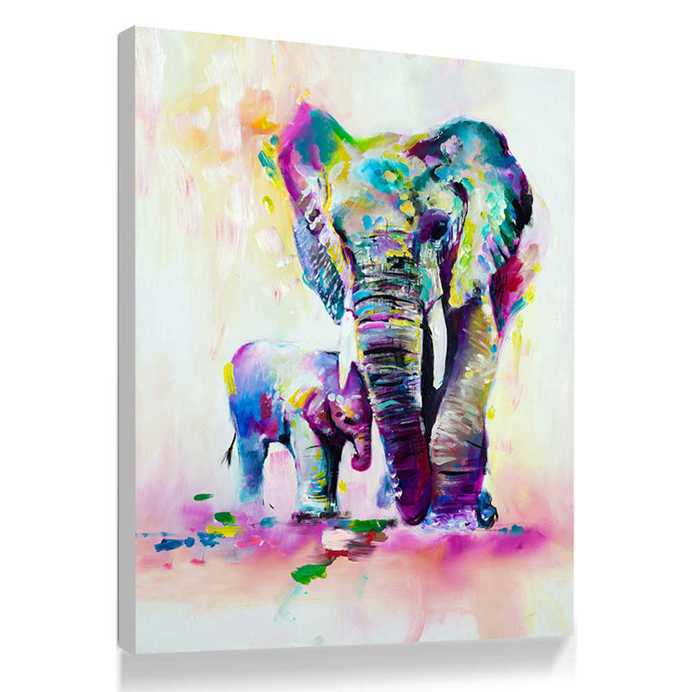 Colorful Abstract Elephant Painting Canvas Posters and Prints Wall Art Painting cuadros decoracion salon Poster Pictures