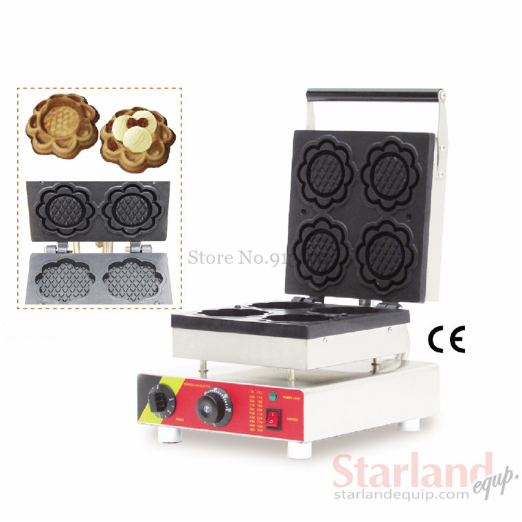 Commercial snack maker stainless steel ice cream bowl waffle machine with 4 pcs moulds 110v 60hz  220v 50hz 220v 110v ce flat pan fried ice cream roll machine fried ice machine stainless steel freezing ice cream machine with glass cover