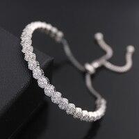 Blucome Verstelbare Cubic Zirkoon Armband Voor Vrouwen Party Geschenken Metalen Koperen armbanden en armbanden Bruiloft Sieraden bruids Banlge