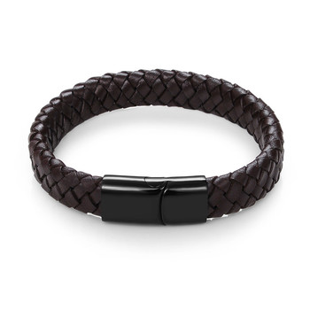 Braided Leather Men's Bracelet with Magnetic Stainless Steel Clasp Bracelets Hot Promotions Jewelry Men Jewelry New Arrivals Metal Color: Brown C3 Length: 16.5cm