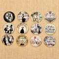Onwear Vintage Kissing Couple Dress Print Photo Glass Cabochon Verre 12mm 20mm 25mm DIY Bracelet Earring Pendants Making