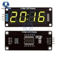 TM1637-Tubo de pantalla LED Digital de 4 dígitos, 0,56 pulgadas, amarillo, Decimal, 7 segmentos, reloj, módulo de puntos dobles para Arduino