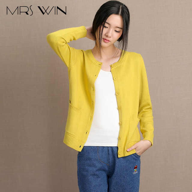 3ef1d9eb33cc9 Mrs win Lady Autumn wear yellow Sweaters Women Korea Style sweet tops  Cotton long sleeve Cardigan Sweaters plus size xxl clothes