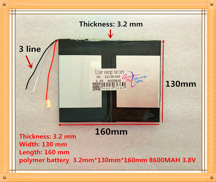 3 line The tablet battery 32130160 8600mah 3.8V Polymer lithium ion / Li-ion battery for tablet pc battery safetypacking level4 5pcs rechargeable lipo battery cell 3 7 v 8873130 10000 mah tablet battery brand tablet gm lithium polymer
