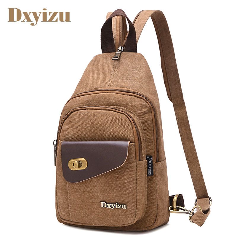 2017 Vintage Men Messenger Bag Casual Travel Rucksack Chest Bag Canvas Small Crossbody F ...