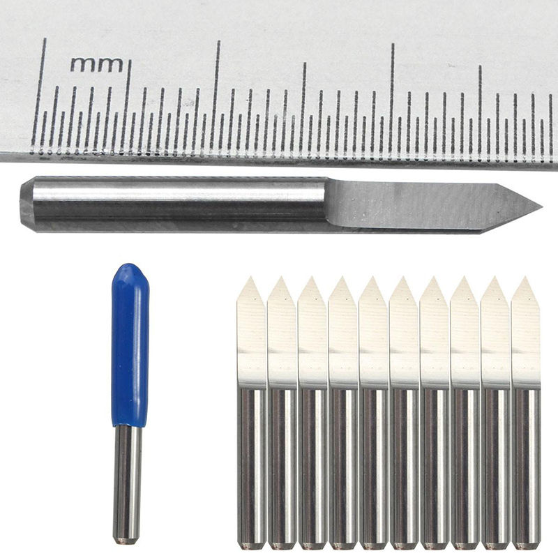 10Pcs 60 Degree 0.1mm Carbide Engraving Bits CNC Router Tool for PCB board