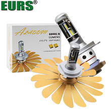EURS безвентиляторный автомобиль свет зэс 100 Вт 12000LM фары H4 светодиодные лампы H1 H7 H8 H11 9005 HB3 9006 HB4 12 В авто лампы противотуманных фар Canbus