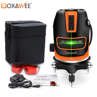 GOXAWEE 360 Degree Rotary Laser Level 5 Lines 6 points Green Laser Vertical & Horizontal Tilt & Outdoor Mode Construction Tool