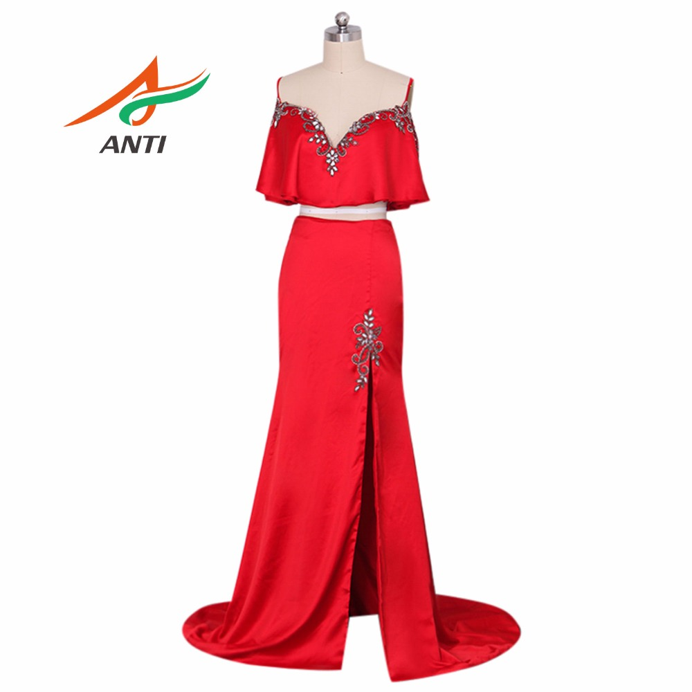 ANTI Burgundy Sexy Two piece   Prom     Dresses   2018 V Neck Beads Crystal Party Gowns Sleeveless Sweep Train Cheap Satin Party   Dress